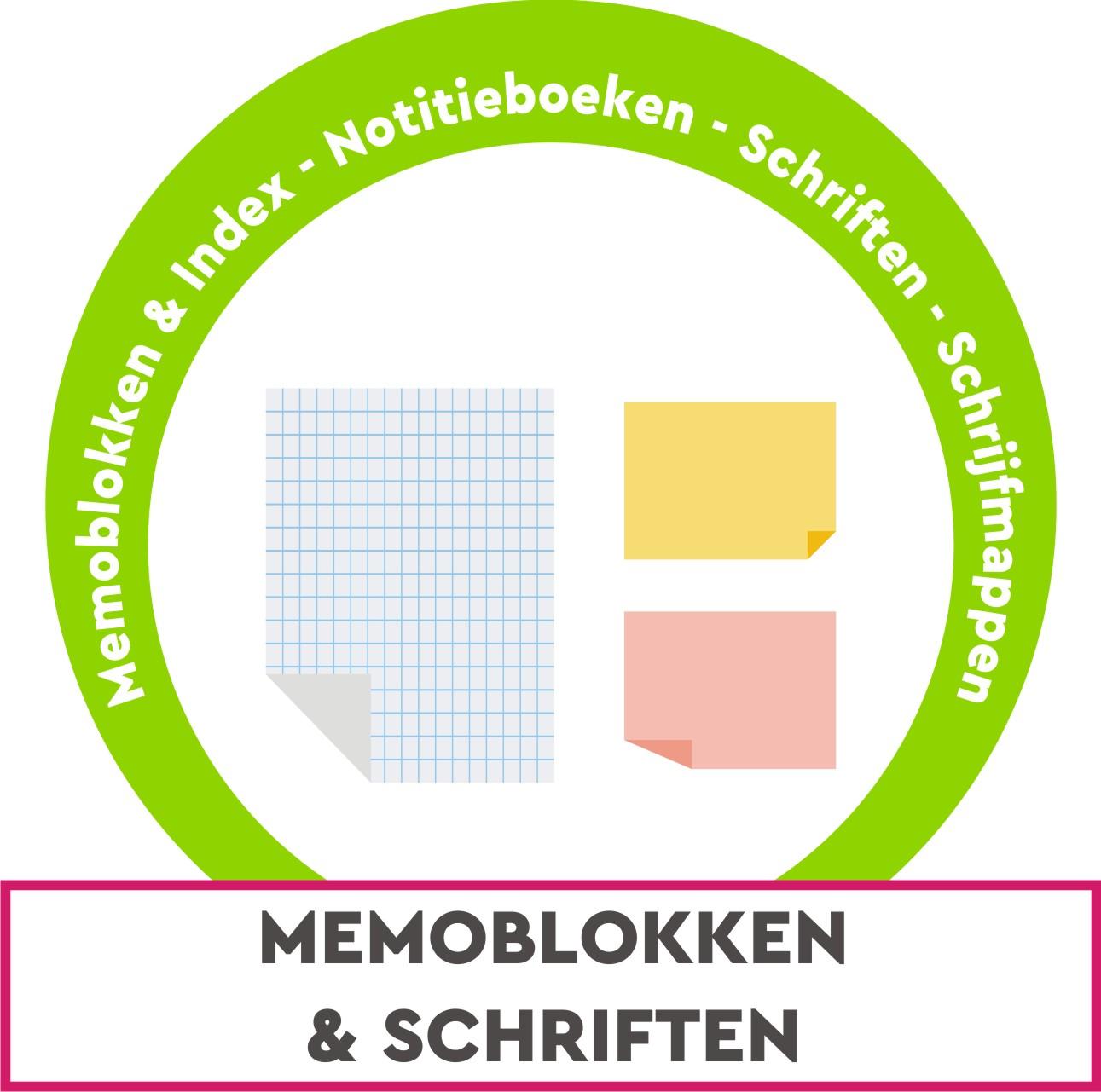 Memoblokken, index, notitie, schriften, cursusblokken, klemplaten, registers, formulieren, ...